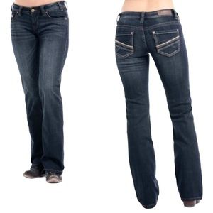 Rock & Roll Cowgirl Leather Detail Riding Jeans